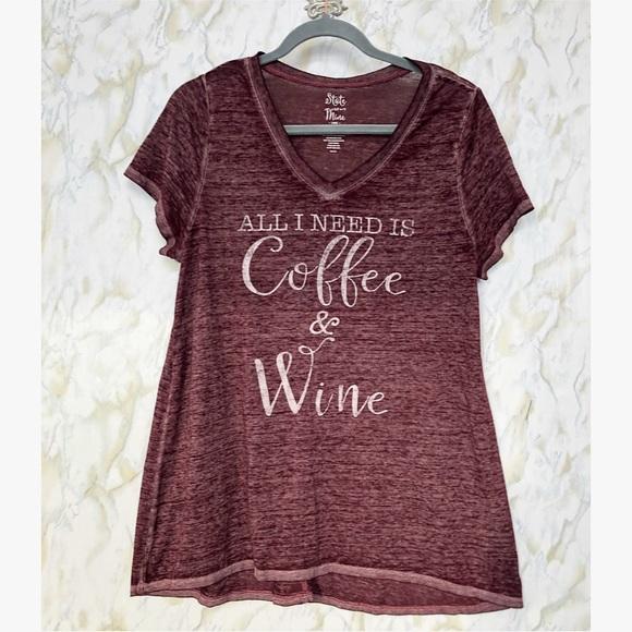 Coffee Wine large v-neck short sleeve tee burnout